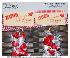 Valentine Candy Topper - HUGS and KISSES! DIY Valentine Craft ~ Valentine's Day Treats and Cards ~ Classroom Party ~ You may trim and use as a Valentine's Day Card too!