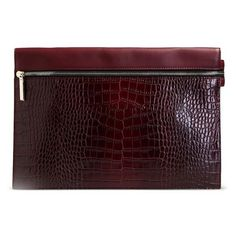 Victoria Beckham Burgundy Croc-Effect Leather Clutch ($750) ❤ liked on Polyvore featuring bags, handbags, clutches, burgundy, victoria beckham handbags, crocodile purse, leather handbags, two tone handbags and crocodile handbag