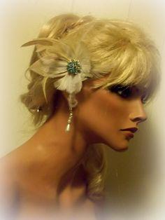 Wedding Hair Fascinator Tiffany Blue Gold Tone by kathyjohnson3