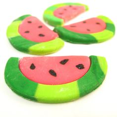 fondant watermelon slices   The Decorated Cookie