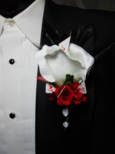 Poker Party Boutonniere White Rose With Hearts by TheWeddingPetal, $13.00