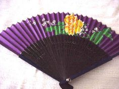 Vintage Chinese   FAN Purple  with Yellow rose and  by SOFIA10