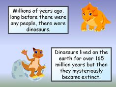 Introduction to Dinosaurs: Presentation, aimed at the very young or those with SEN, about dinosaurs. Simple facts and coloured child friendly pictures. Comic Sans font throughout.
