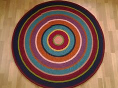 Large crochet round rug 63'' 162 cm/Crochet by AnuszkaDesign