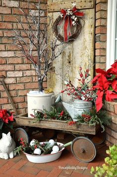 Holiday decorating - Christmas Front Porch/Vintage wagon, rustic with red and white colors. | Housepitality Designs