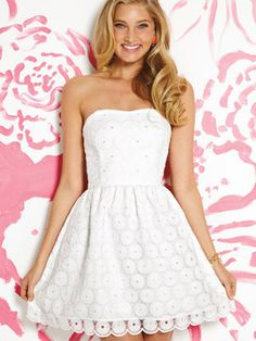 i love the white lace... simple yet stunning :) i like her long blonde curls which complement the neckline of the dress! cute earrings, too   payton dress by lilly pulitzer