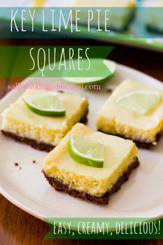 Easy Key Lime Pie Squares from sallysbakingaddiction.com - these are the best lime squares you'll ever have! the combo of creamy lime and spicy sweet gingersnap crust is unbelievable! Seriously, you have to make these! #recipe #dessert