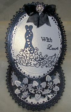 Shirley Ramsay Wedding Cards Handmade, Beautiful Handmade Cards, Card Tags, I Card, Congratulations On Marriage, Tattered Lace Cards, Dress Card, Spellbinders Cards, Step Cards