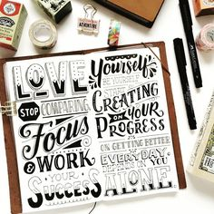 Awesome hand lettering styles mixed with meaningful quotes. all a lettering lover can wish for Hand Lettering Quotes, Creative Lettering, Lettering Styles, Brush Lettering, Lettering Design, Lettering Ideas, Chalk Lettering, Calligraphy Letters, Typography Letters