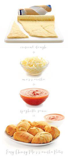 Easy Cheesy Mozzarella Bites Recipe from She Wears Many Hats. These look delicious!