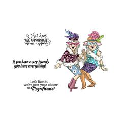 """Art Impressions - Crazy friends - Stamp Set Set of Two girlfriends playing dress up! """"What does 'age appropriate' mean anyway?"""" """"Let's face it, we're one year closer to magnificence!"""" """"If you have crazy friends you have everything! Happy Birthday Best Friend, Happy Birthday Funny, Happy Birthday Quotes, Funny Happy, Birthday Greetings, Birthday Wishes, Happy Birthday Crazy Lady, Birthday Ideas, Birthday Cards"""