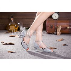 Women's Dance Shoes Belly/Latin/Samba Leatherette/Sparkling Glitter/Paillette/Synthetic Cuban Heel Red/Silver/Other - USD $16.19