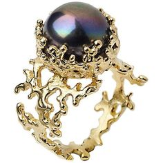 Arosha Luigi Taglia Coral Yellow Gold Black Pearl Ring ($290) ❤ liked on Polyvore featuring jewelry, rings, accessories, anillos, jewels, 14k pearl ring, white gold pearl ring, gold rings, 14 karat gold ring and 14k gold jewelry