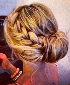Side braid into messy bun