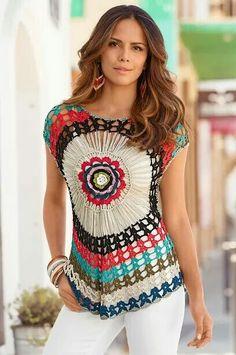 Fabulous Crochet a Little Black Crochet Dress Ideas. Georgeous Crochet a Little Black Crochet Dress Ideas. Gilet Crochet, Crochet Tunic, Crochet Clothes, Knit Crochet, Crochet Motif, Gilet Kimono, Easy Style, Hairpin Lace Crochet, Black Crochet Dress