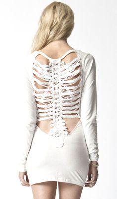 Vertibrae Back Body Con Dress - Ivory. So pretty!<3