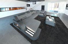 Elegant Modern Fabric Sofa with LED Lighting