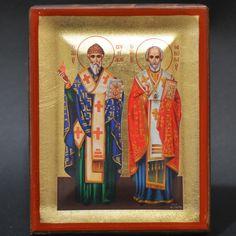 Handmade Orthodox Icon Byzantine Greek Serigraph St.Spiridon St.Nicholas