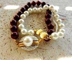 Vintage Italian, dated 1960-2 pearl bracelets, beautiful jewelery and great clasp -art.794-