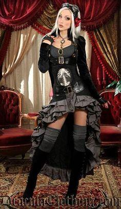 Steampunk Aviatrix with scoop skirt