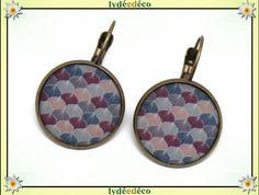 Boucles d'oreilles dormeuses rétro rose violet bleu gris Ginko arbre Japonais résine laiton bronze