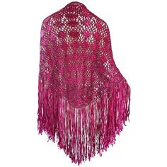 Preowned Fuchsia Hot Pink Rayon Hand Crochet Large Vintage Fringed... ($950) ❤ liked on Polyvore featuring jackets, pink, crochet shawl, fringe shawl, woven scarves, fringe scarves and hand crocheted scarves