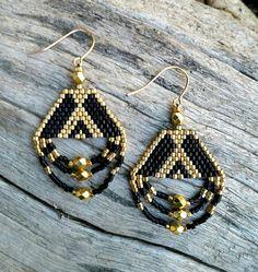 Peyote Stitch Chandelier Earrings Beaded 24 by EsotericRhythms