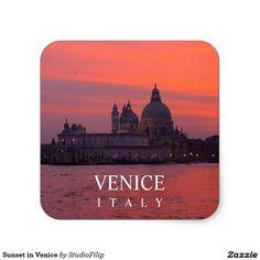 Sunset in Venice Square Sticker