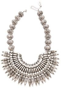 Adia kibur Silver Bib Necklace on shopstyle.com