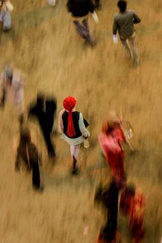 India, walking to Maha Kumbh Mela.