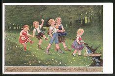 Künstler-AK Franziska Schenkel: Kinder wandern am Bach entlang 0