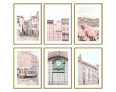 dorm room ideas for girls room teen bedroom designs pastel home decor photo collage wall kit Unique Wall Art, Contemporary Wall Art, Modern Art Prints, Wall Art Prints, Travel Gallery Wall, Travel Wall Art, Pastel Home Decor, Pink Wall Art, Pastel Art