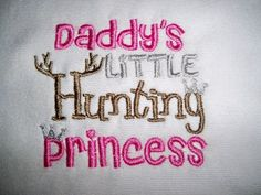 Baby bib embroidered with Daddy's Little Hunting Princess.