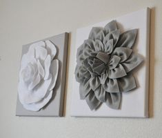 "TWO Wall Flowers -Gray Dahlia on White and White Rose on Gray- 12 x12"" Canvas Wall Art- Baby Nursery Wall Decor-, $66.00"
