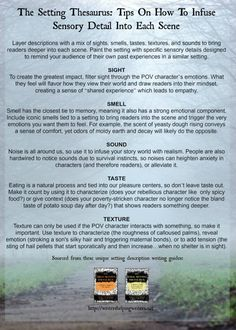 The Setting Thesaurus Sensory Details Oh my gosh, YES! I need this so freaking much! Creative Writing Prompts, Book Writing Tips, Writing Words, Writing Quotes, Fiction Writing, Writing Ideas, Writing Strategies, Writing Resources, Start Writing