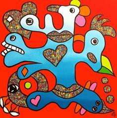 """Nieuw werk! """"Love and Connect"""" - 70x70 - acryl op doek"""