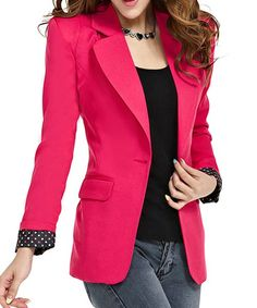 $13.58 Fashionable Style Lapel Neck Long Sleeve Slimming One Button Polka Dot Blazer For Women