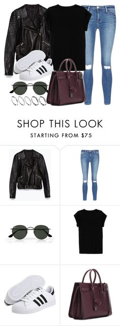 """Style #11086"" by vany-alvarado ❤ liked on Polyvore featuring Zara, Frame Denim, Ray-Ban, Isabel Marant, adidas Originals, Yves Saint Laurent and ASOS"