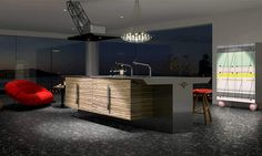 Fashionable Black Red Modern Japanese Kitchen Design At The Attic
