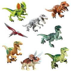 8pcs/set Dinosaurs Jurassic World Dinosaurs Figures Jurassic Building Tyrannosaurus Assemble Blocks Classic with Legoe Kids Toy