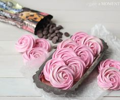 Raspberry Meringues with Whipped Dark Chocolate Ganache Filling | Baking a Moment