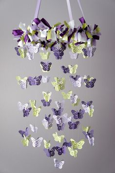 Butterfly Mobile in Purple Lavender Green & White- Photography Prop, Baby Shower Gift