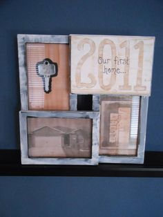 "LOVE THIS IDEA!!!! Make an""Our First Home"" keepsake by using a four-square picture frame and frame a copy of your house key, the blue prints, a picture, and the year! LOVE LOVE LOVE!"