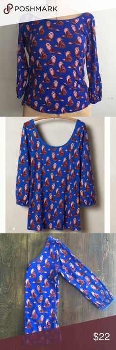 Anthropologie postmark fox print top Anthro adorable fox print top. 3/4 sleeves ending right at the elbow. Boat neck and scooped in the back across the shoulders. Good condition! Anthropologie Tops