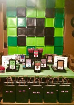 Cool backdrop at a Minecraft birthday party! See more party planning ideas at CatchMyParty.com!