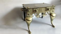 Antique English  Cast Brass Fireplace Footman Stool. Trivet. Victorian on Etsy, $475.00