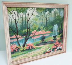 Vintage Paint By Number Framed Serene Landscape Painting of a Fountain, Lake and Trees in Shades of Blue, Green and Peach