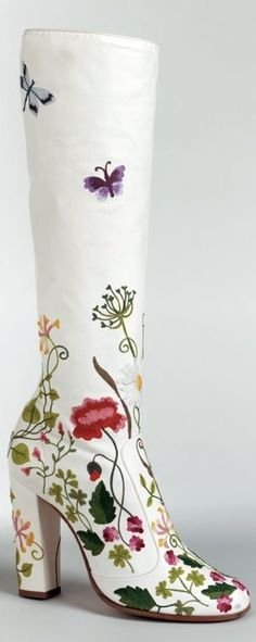 white floral boot