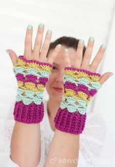 Try this shell lace crochet wristwarmers in our Vanna's Palettes yarn.