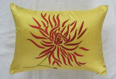 Yellow Chrysanthemum long pillow with red embroidery 12X18 inch decorative cushion cover